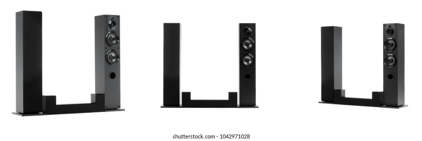 Home cinema speaker system. Loudspeakers, player and receiver ,on white background