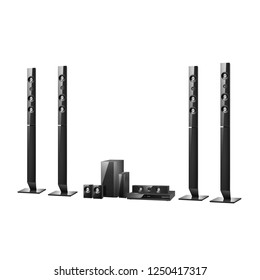 Home Cinema or Home Theatre Entertainment System Isolated on White. Floorstanding Data Surround Speakers. Acoustic Audio Sound Stereo System 5-Channel Output with Subwoofer 5.1 Ch Theater Loudspeakers
