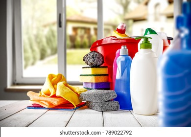 Home cleaning background with open window and free space for your decoration
