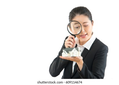 home cleaning company care family every day. professional manager help looking for new house. asian businesswoman used magnifier.