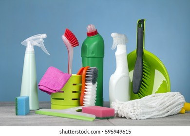 Home cleaning concept. Various of Cleaning Products.