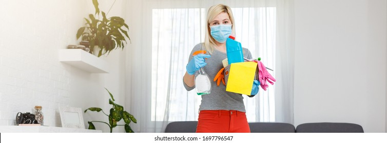 Home cleaning. Disinfection anti bacteric cure to battle coronavirus spread.