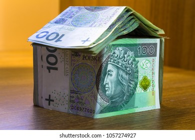 Home concept made from hundred zloty banknotes