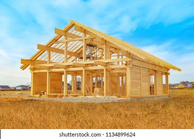 Home construction. The frame of the house. Cottage. The beginning of the construction of the Cottage. House made of laminated veneer lumber.