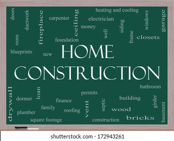 Home Construction Word Cloud Concept on a Blackboard with great terms such as new, building, permits, money and more.