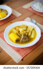 Home cooked meal of sancocho - traditional soup in several Latin American cuisines.