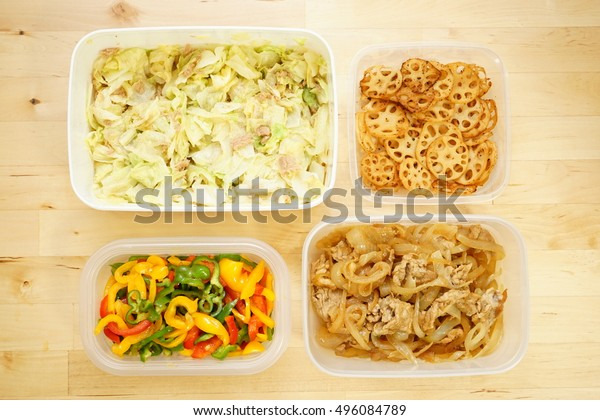 Home cooked organic foods and leftovers in food containers for lunch box