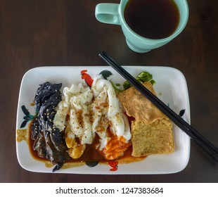Home cooking style restaurant food / 3-Variety Chee Cheong Fun / Three types charcoal, soya and rice powder for the main dish and comes with deep fried beancurd skin, chili and soy paste to taste