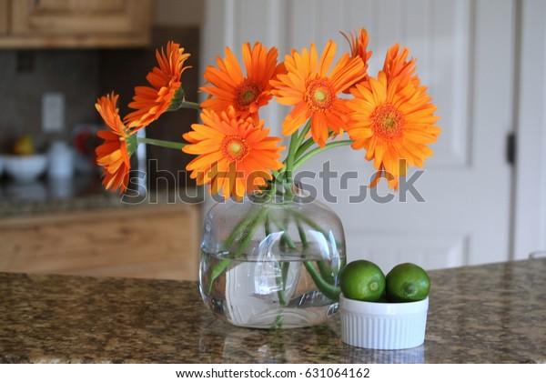 Home decor decorating with orange gerbera gerber daisy flowers