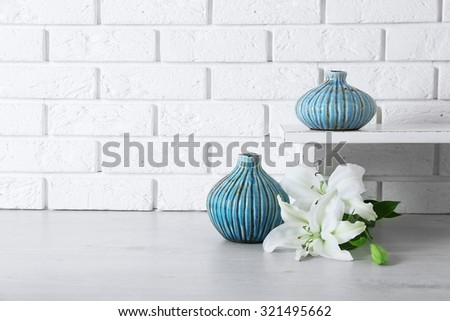 Home Decor Flowers On Brick Wall Stock Photo Edit Now 321495662