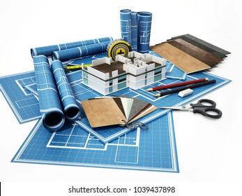 Home decorating tools standing on house bluprints. 3D illustration.