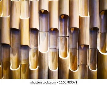 Home decoration concept and abstract background. Closeup view of bamboo wall decoration. Bamboo texture and background for wall design. Copy space.