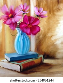 home decoration  flowers turquoise vase books oil painting