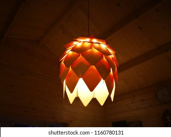 Home decoration and handmade natural decorations concept. Handmade bamboo lantern, decorated for light on the ceiling. Selective focus and copy space.