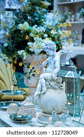 home decoration shop with angel sculpture