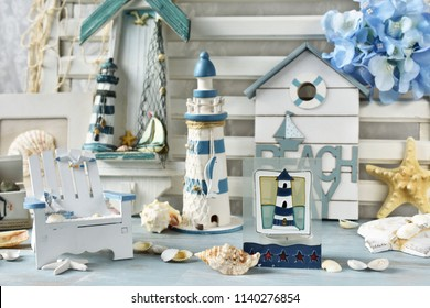 home decoration with souvenirs from summer holidays in retro style