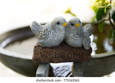 home decorations with ceramic bird close up