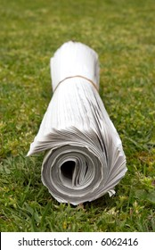 A home delivered newspaper on the lawn, focus on end.