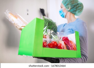 Home delivery food during virus outbreak, coronavirus panic and pandemics. Stay safe!