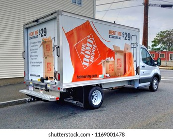 Home Depot rental moving van truck, Revere Massachusetts USA, August 31, 2018