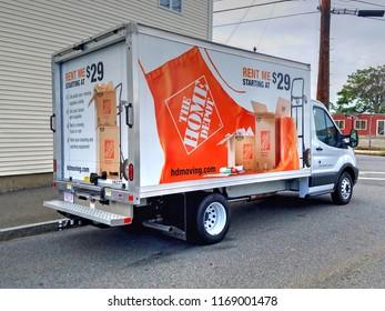 Home Depot rental moving van truck, Revere Massachusetts USA, August 31, 2018