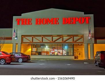 The Home Depot retailer store front entrance, late night hours parking lot, Danvers Massachusetts USA, November 9, 2019
