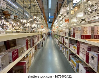 The Home Depot store department section aisles, light section. San Diego, California, USA. The Home Depot is the largest home improvement retailer and construction service in the US. March, 15h, 2020