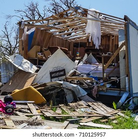 A home destroyed by the powerful Hurricane Harvey on the Texas Coast