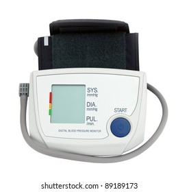 home digital blood pressure monitor tonometer isolated over white