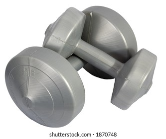 At home dumbbells are shown isolated on a white background.