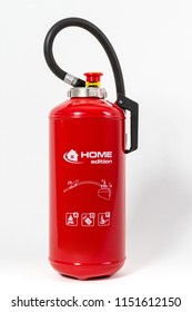 Home edition of modern fire extinguisher on white background