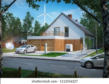 home electric car charging with solar power and wind power turbine in the background