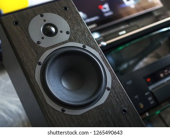 Home entertainment center, close-up of audio speaker, selective focus