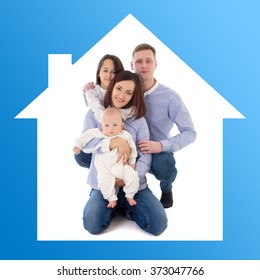 home and family concept - father, mother, daughter and son in blue house