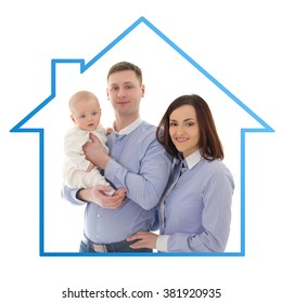 home and family concept - father, mother and son isolated on white background