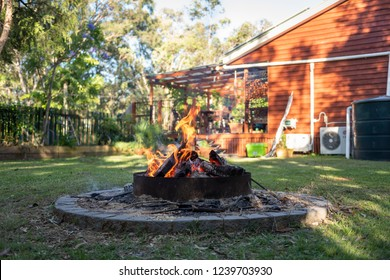 Home fire pit in the yard