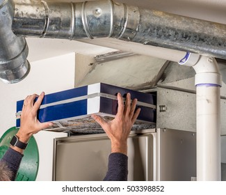 Home furnace air filter replacement