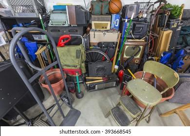 Home garage storage mess.