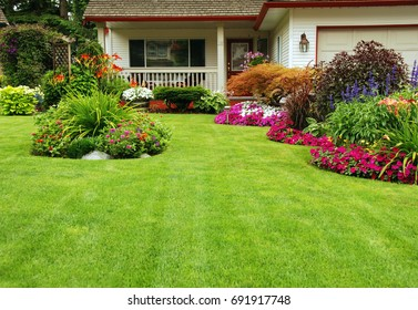 Home Garden. A carefully maintained home garden in full spring summer bloom.