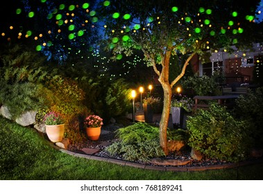 Home garden illumination autumn evening patio festive party lights