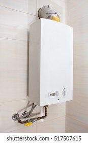 Home gas water heater - boiler in bathroom for hot water