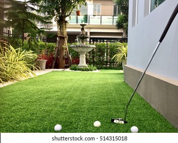 Home golf course, architecture design of grass field around home, artificial grass, fake grass,
