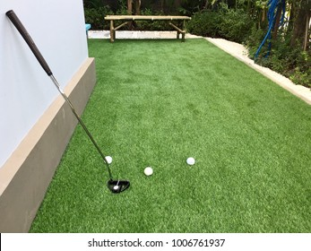 Home golf course by artificial grass , architecture design of grass field around home, artificial grass, home outdoor decoration concept