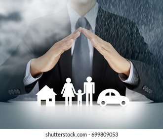 home, health, car insurance concept