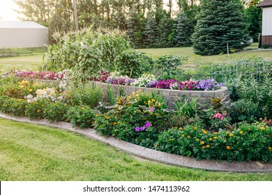 home house curb appeal Flower beds garden Blooming in the Spring Summer at a home