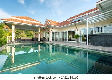 home or house Exterior design showing tropical pool villa