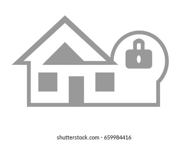 Home and house security web icon concept isolated on white background.