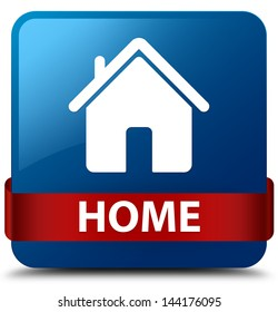 Home (home icon) glassy red ribbon glossy blue square button