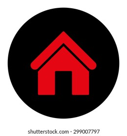 Home icon from Primitive Round Buttons OverColor Set. This round flat button is drawn with intensive red and black colors on a white background.