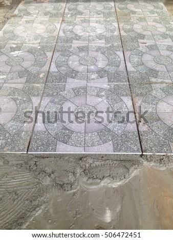 Home Improvement Cement Mortar Tiles Work Stock Photo Edit Now
